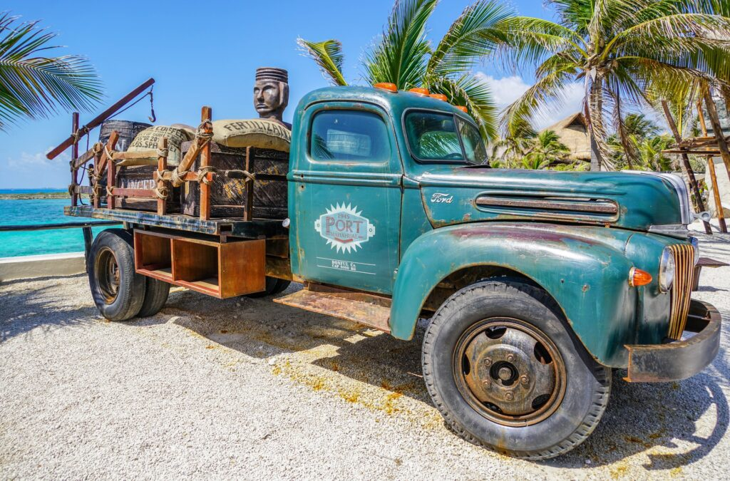 Antique truck mexico beach
